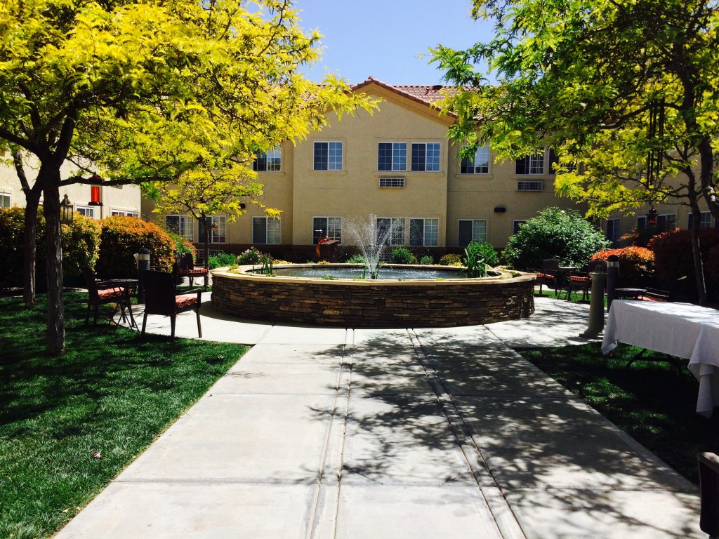 Commercial Landscaping - paved walkway leading to atria pond and water fountain with grass and trees surrounding