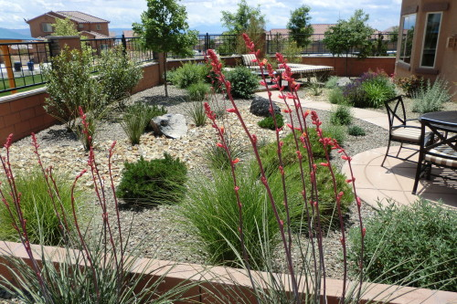 Backyard with several rock designs and paver patio with patio furniture and a walkway leading to seating area surrounding a fire pit
