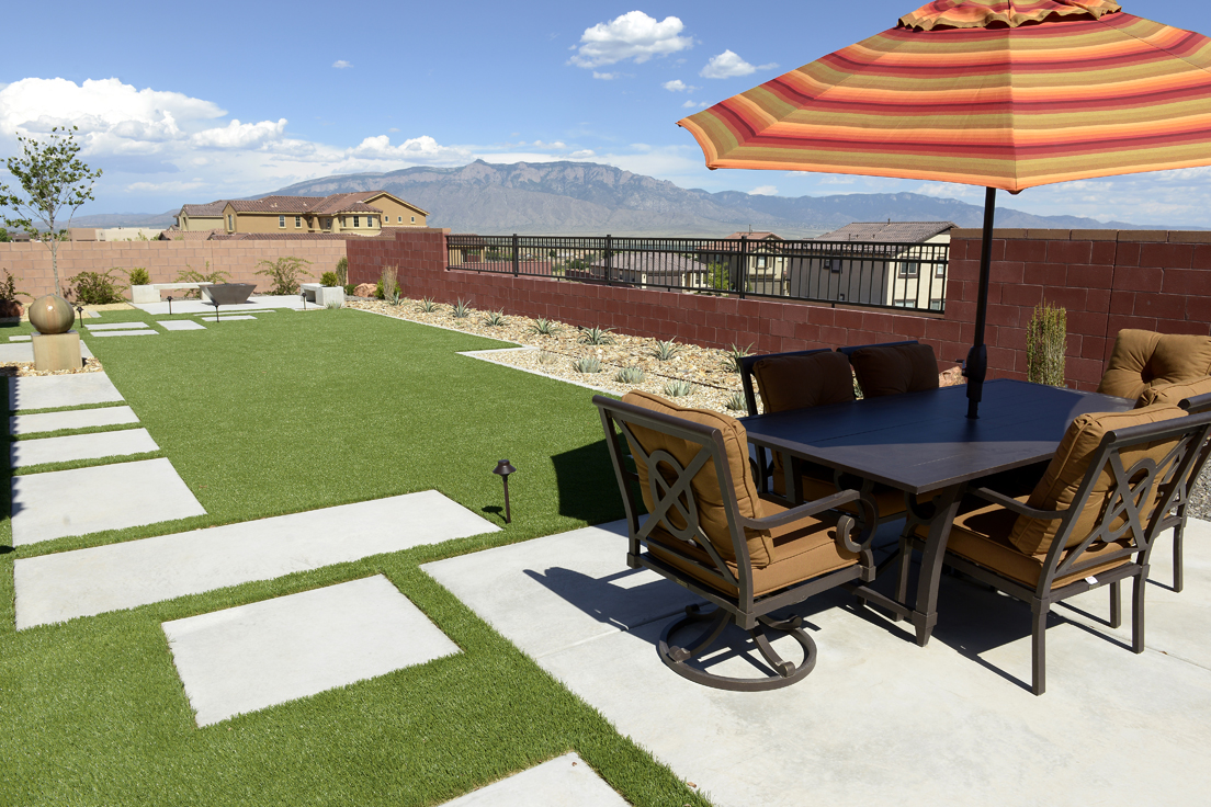Water feature artificial turf and patio set